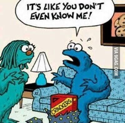 Cookie Monster is upset!