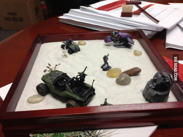 My boss' zen garden at work.