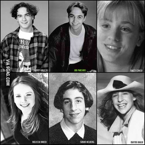 The cast of The Big Bang Theory in youth.