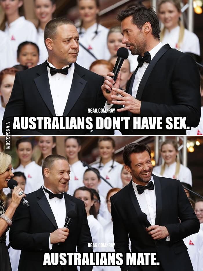 Hugh Jackman telling Russell Crowe a joke.