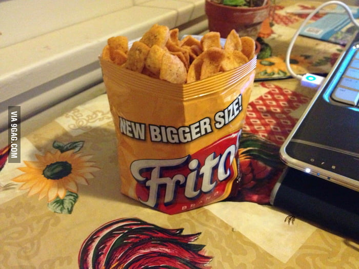 Simple trick to make your chips bag stand.