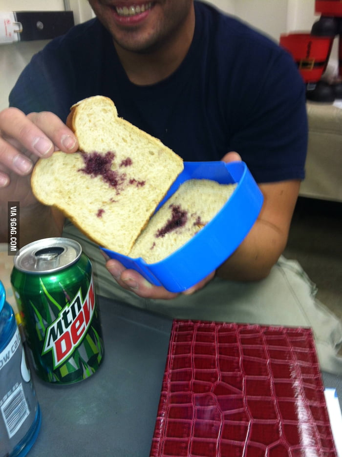My friend's 5 year old son made him a sandwich for work.