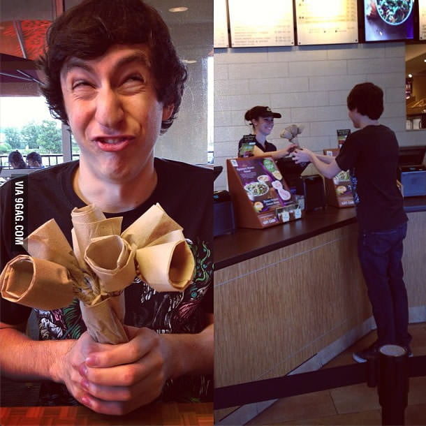 Made napkin flowers for the cute cashier.