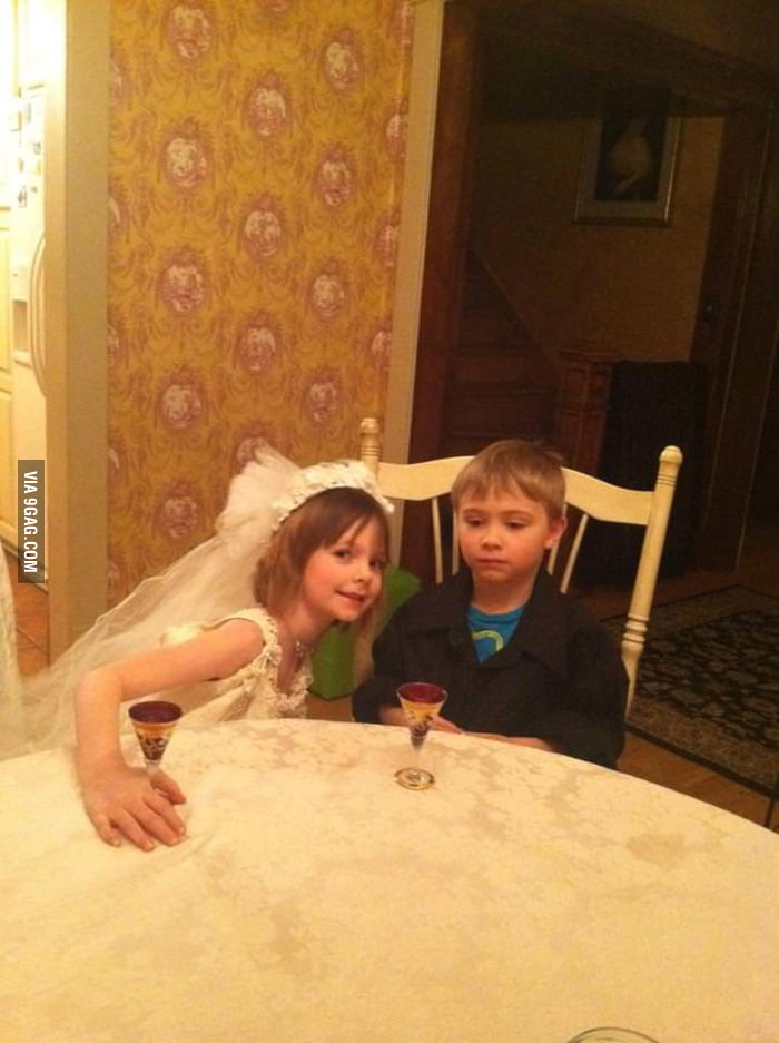 He was forced to play wedding at a sleepover.