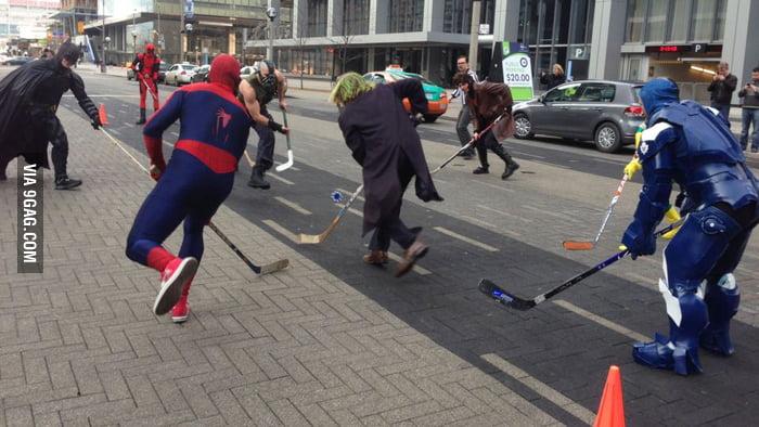 Superheroes Street Hockey!