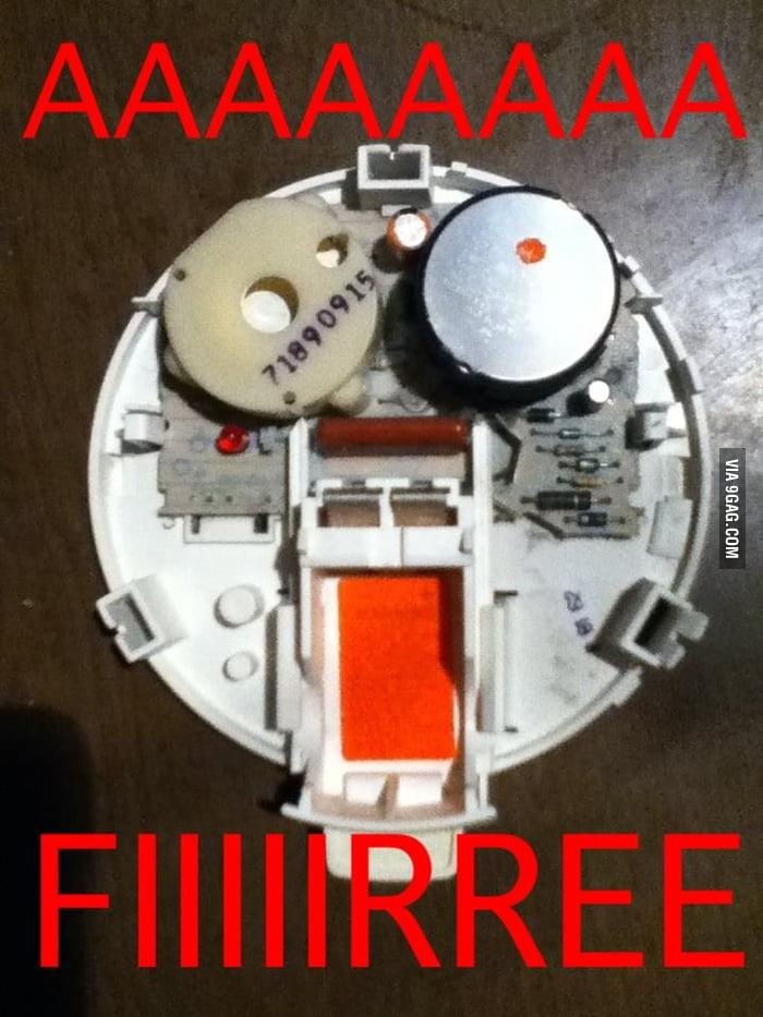 The inside of a smoke detector.