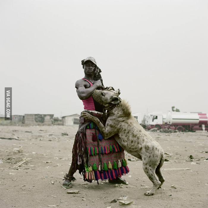 A man who trained hyena as pet.