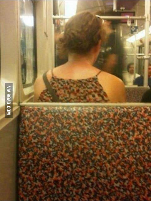 Awkward moment when your clothes match seats on the train..