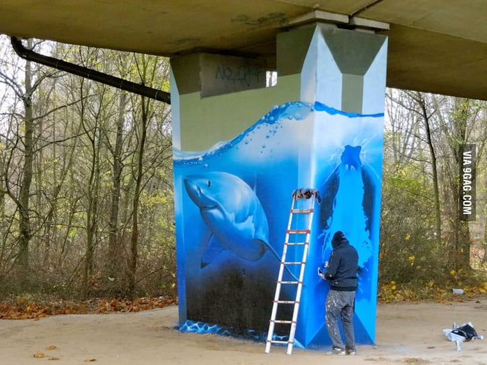 Amazing Shark Tank Street Art