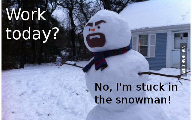 Stuck in the snowman!