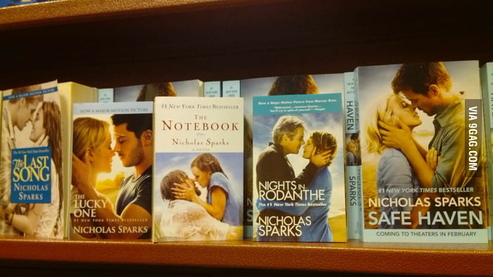 Nicholas Sparks sure gets creative with his book covers.