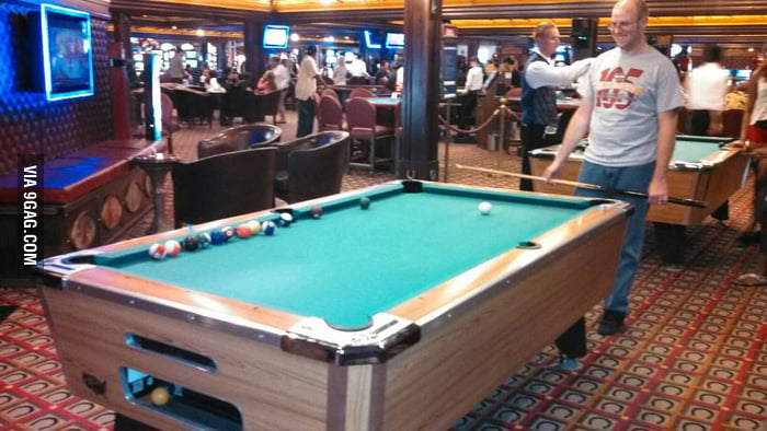 Don't try to play pool on a cruise ship.
