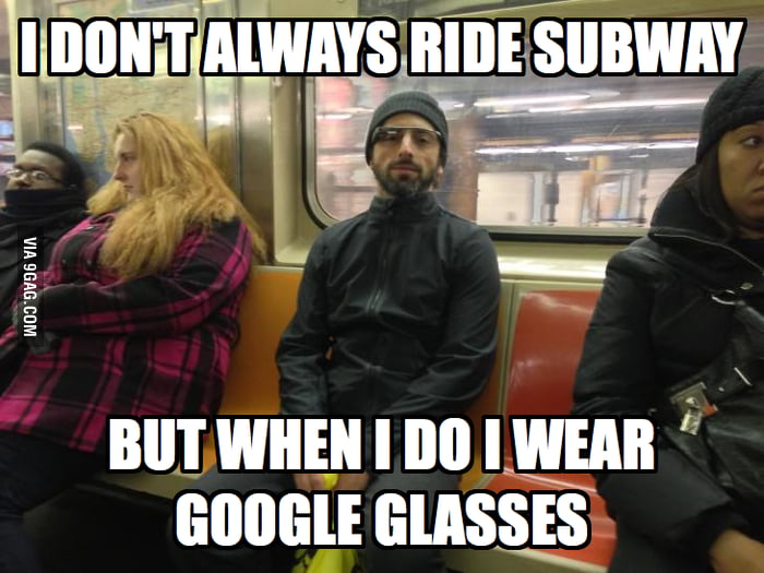 Sergey Brin riding subway.