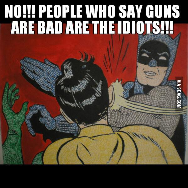 Anti-gun activists saying that pro-gun activists are idiots.