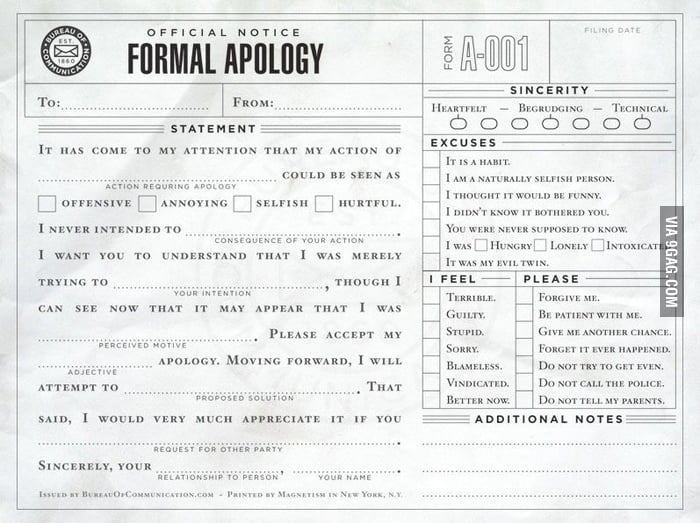 That's how you should apologize