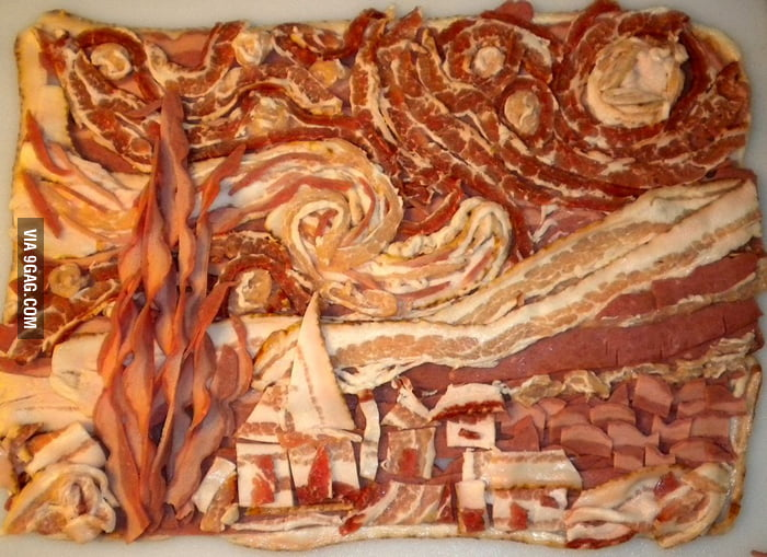 Vincent Van Gogh's Starry Night made with bacon.