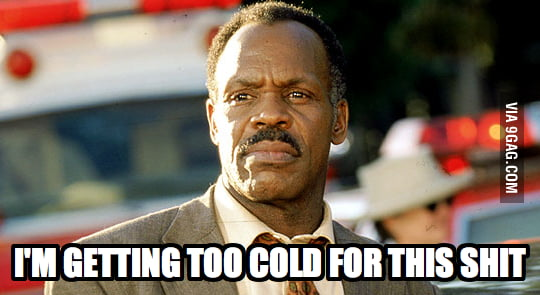 Standing outside in the cold waiting for my dog to poop.