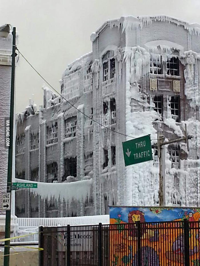 Building in Chicago, it was on fire and the water froze