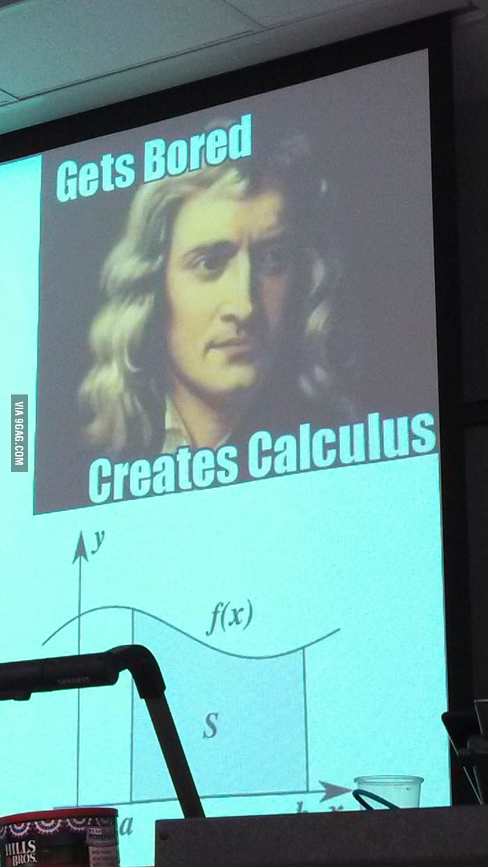 My astronomy teacher's slide on Newton.