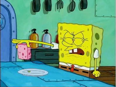 Spongebob holding a fetus