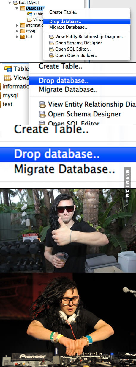 Damn Skrillex, LEAVE MY DATABASE ALONE!
