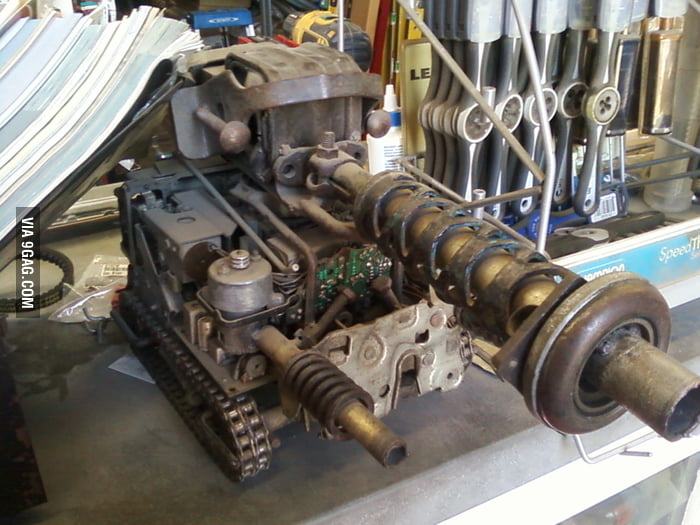 Tank Made from Extra Car Parts