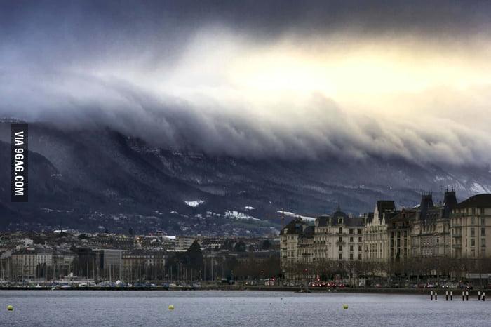 Clouds and Mountains Shaped Like a Tsunami