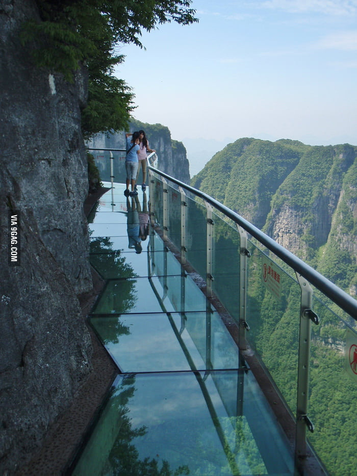 Glass walkway on Tianmen Mountain, Hunan, China.