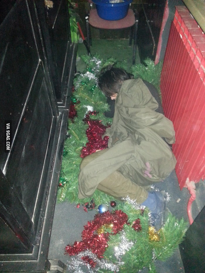 You know you are drunk when you sleep on a christmas tree