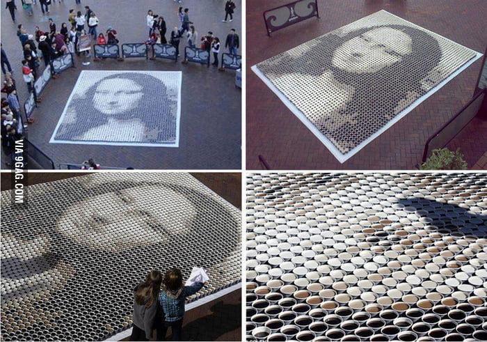 Mona Lisa by Leonardo Da Vinci done with coffe and milk
