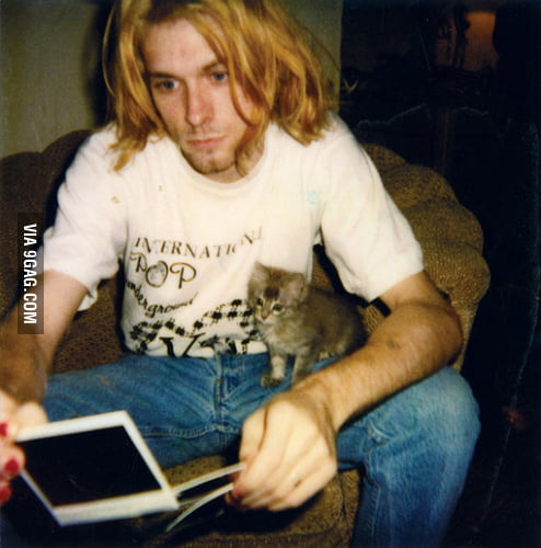A man with his cat. Happy Birthday, Kurt.