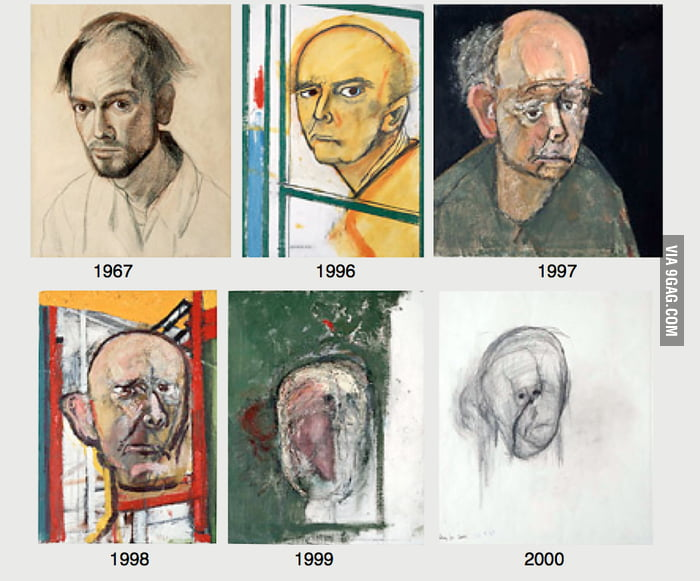 An artist with Alzheimer's drawing self-portraits