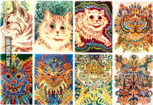An artist with schizophrenia-progress (Louis Wain)