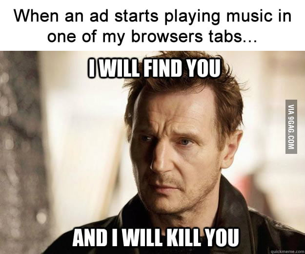 When an ad starts playing music