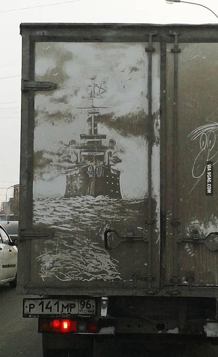 Awesome street art on a truck.
