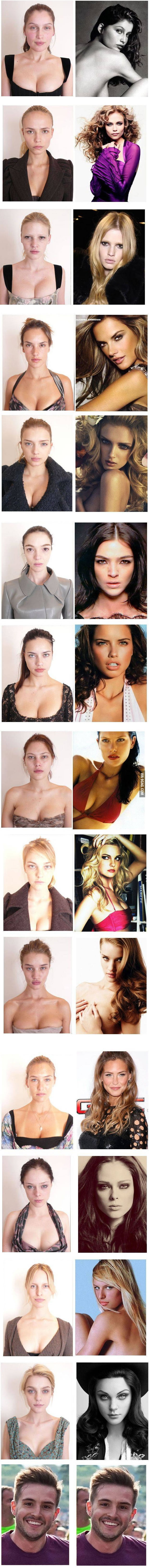 Models without their make-up