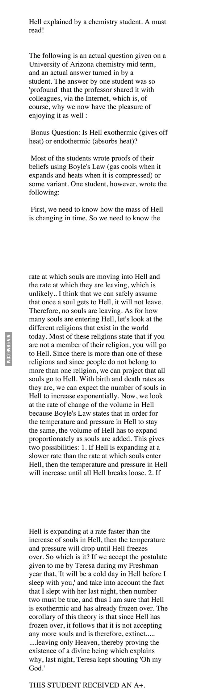 Hell explained by a chemistry student 9gag for Architecture students 9gag