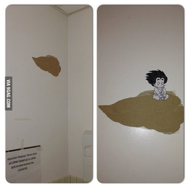 An idiot tore up our bathroom wall at work. I fixed it.