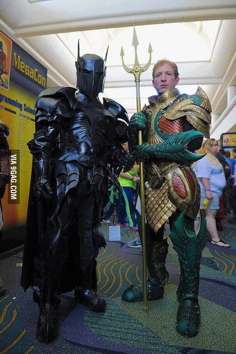 Batman and Aquaman medieval suits