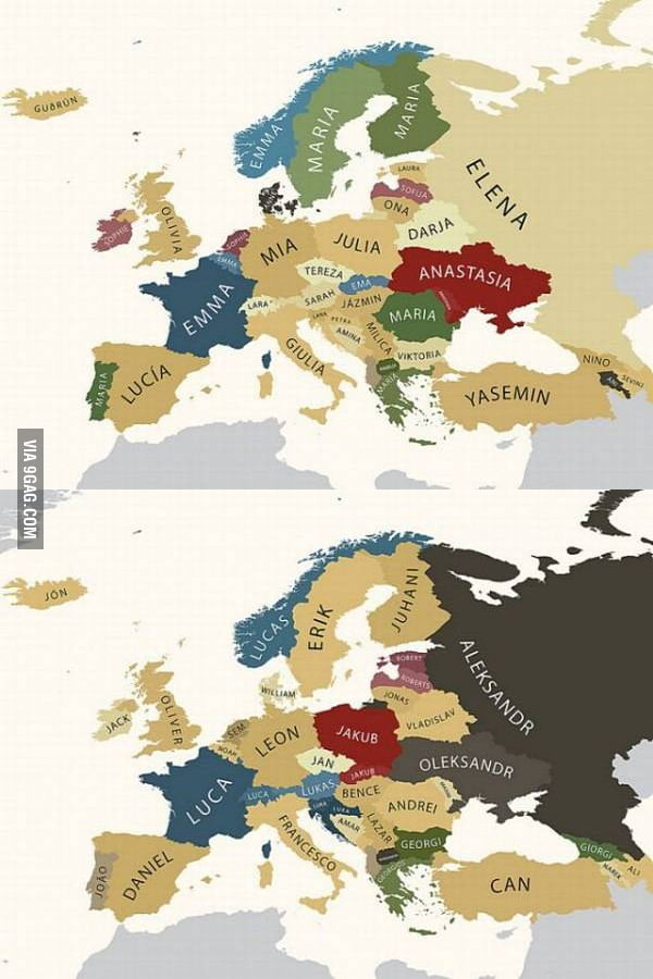 Most common names in Europe