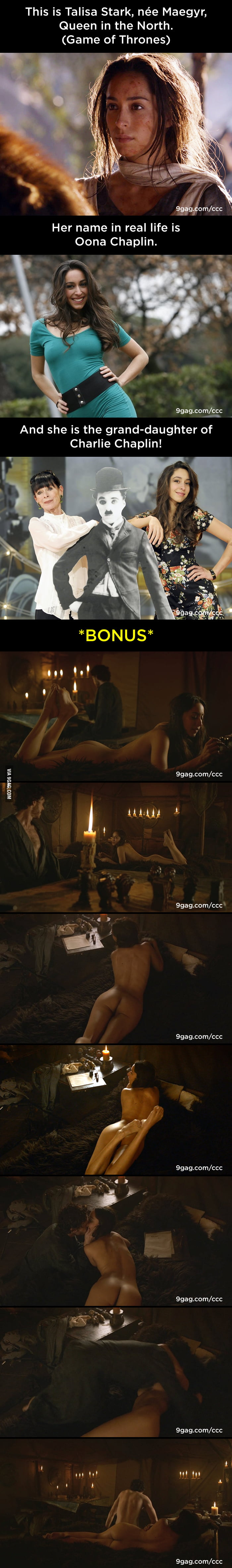 This is Talisa Stark, Queen in the North (Game of Thrones); and her real name is Oona Chaplin.