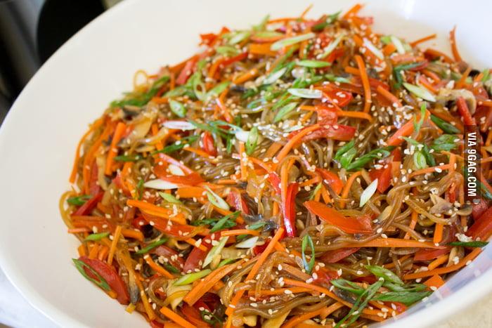 Japchae — traditional Korean stir-fried sweet potato noodle dish ...