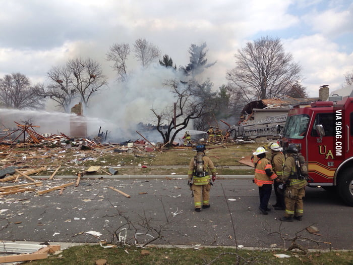 So this house in my neighborhood exploded today.