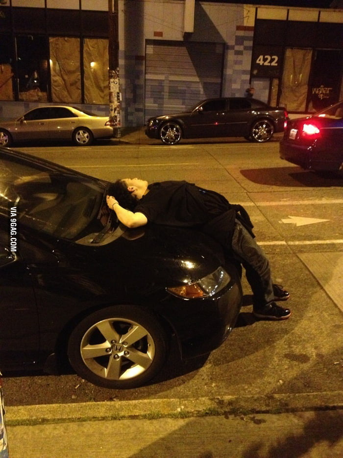 This guy just passed out like this.