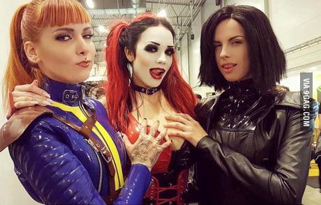 Psylocke as vault survivor, Starf**ked as Harley Quinn and Lara Aimee as Selene