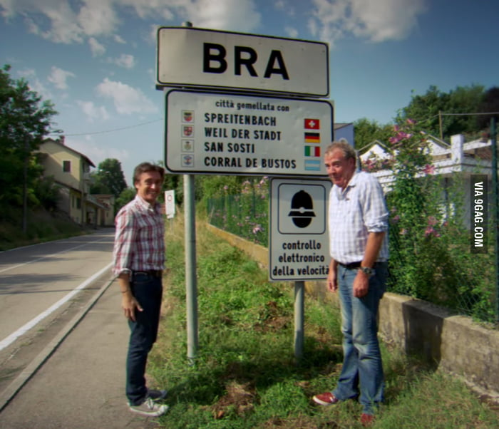 top gear guys found a city in italy named 9gag. Black Bedroom Furniture Sets. Home Design Ideas