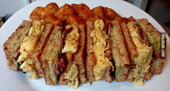 Breakfast club sandwich! Bacon, apple, swiss, and soft-scrambled egg ...