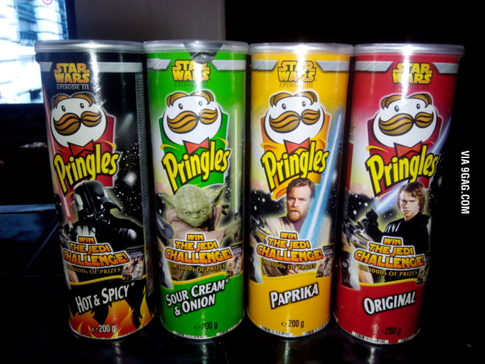 gag aqrvj pringles guy is back cans from  starwars episode iii and they are still full