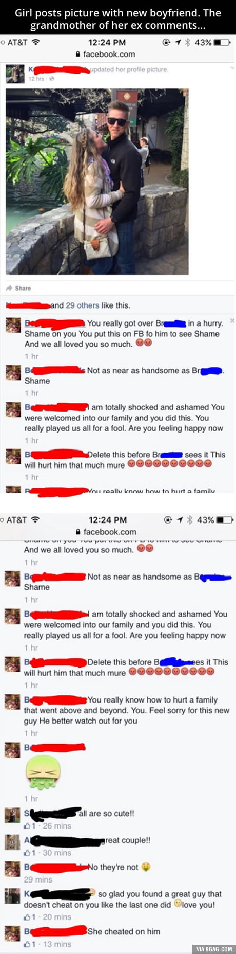 Who the hell keeps their ex's grandmother as their facebook friend anyway?