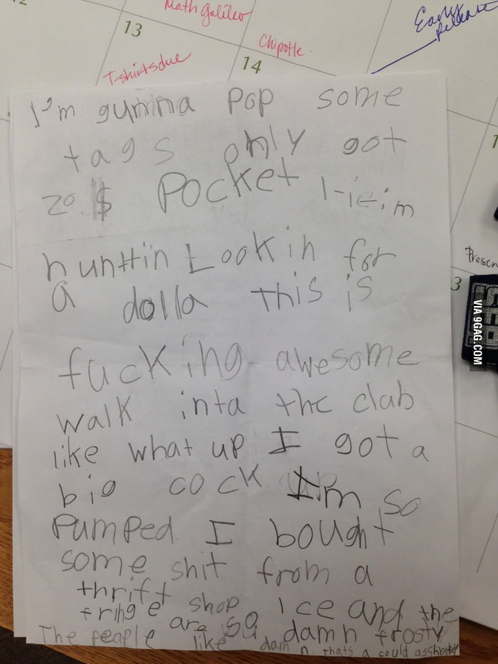 A 1st grade teacher assigned her students to write down for Architecture students 9gag